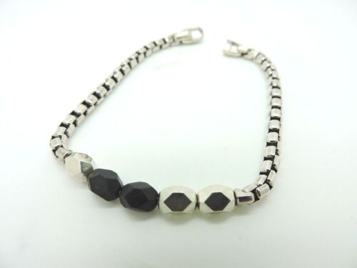"David Yurman ""The Chain Collection"" Faceted Metal Bead Bracelet with Black Onyx"