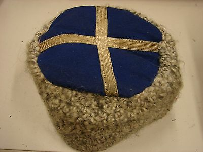 Original WW1 Ottoman Empire or Russian Army Officer-NCO Fur Hat- Blue-Silver Top
