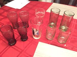 Vintage Coca Cola Glass cups Various years