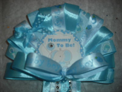 Blue Baby shower corsage Elephant Jungle corsage for mommy and daddy to be (Mommy To Be Corsage For Baby Shower)