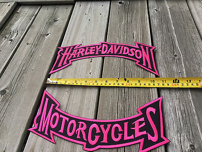 """Ladies XL Biker Patches Set New PINK and BLACK 11""""x5"""" FREE SHIPPING and TRACKING"""