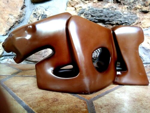 LEOPARD MODERNIST SCULPTURE BY CAROLE SCHULTZ, 14 Inches Long, 1977, Signed 1991