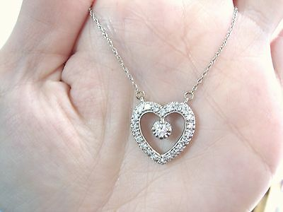 Diamond Set Open Heart (Gorgeous 14K White Gold 0.91 tcw Diamond open Heart Pendant + Chain Set MustSee  )