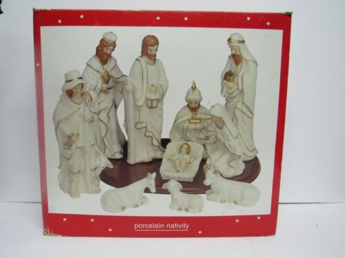 11 Pc Porcelain Christmas Nativity Set JC Penney Home Collection White/Gold