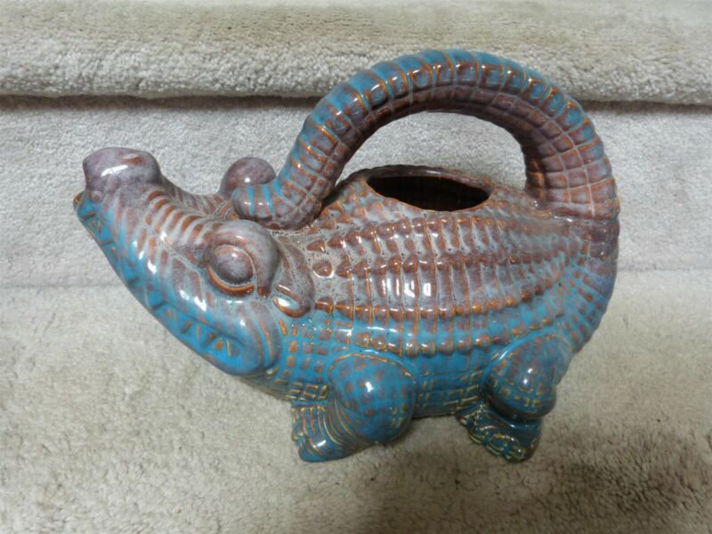 """WHIMSICAL Studio Art Pottery Alligator Flower Watering Can 11""""x8"""" EUC"""