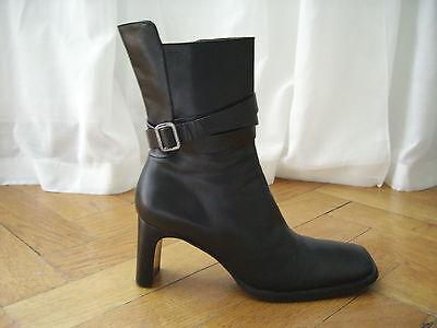 CoSTUME NATIONAL Stiefelette Stiefel schwarz echt Leder Gürtel 40 neuwertig 479€ - National Schwarz Leder