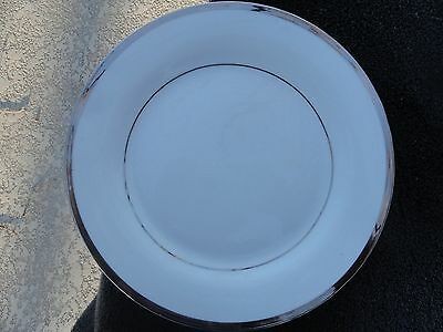 - Platinum Verge and Trim Pure Solid All White Dinner Plate