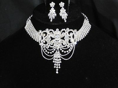 Bridal Silver Clear Rhinestone Crystal Collar Choker Necklace and Earrings Set