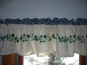 Http Ebay Com Itm Maine Made Hand Stenciled Blueberry Fruit Kitchen Decor Country Curtain Valance 351017872657