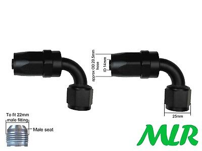 MLR AN -10 JIC 90° DEGREE BLACK OIL COOLER REMOTE FILTER HOSE PIPE FITTINGS PAIR