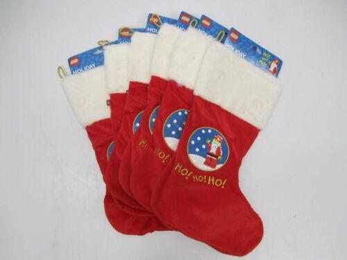 Lot 6 NWT Lego Santa Christmas Fabric Stocking Holiday Red & White Ho Ho Ho
