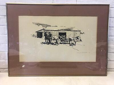 Vintage Mid Century 1976 James D. Torson Signed Western Print Horses Wagon Barn