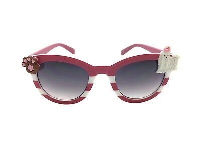 Women's Pink Cat Eye Embellished Sunglasses with White Dog and Paw Print UV 400