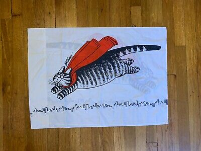 Vintage B Kliban Black Cat Flying With Red Scarf Pillow Case