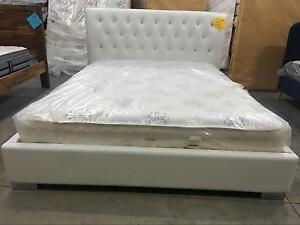 Solid Wood Queen Size PU Leather Bed White Melbourne CBD Melbourne City Preview