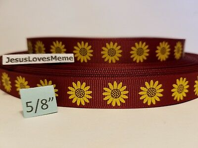 Grosgrain Ribbon Sunflowers on Rust Gardening Summer Flowers Hair Bows 5/8