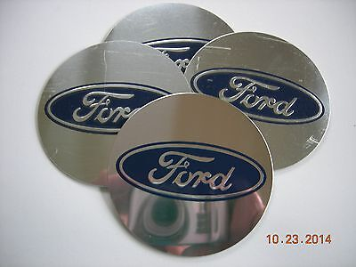 """FORD WHEEL CENTER CAP EMBLEMS SET 4 ALUMINUM STICKERS DECAL CONED 2 3/16"""""""