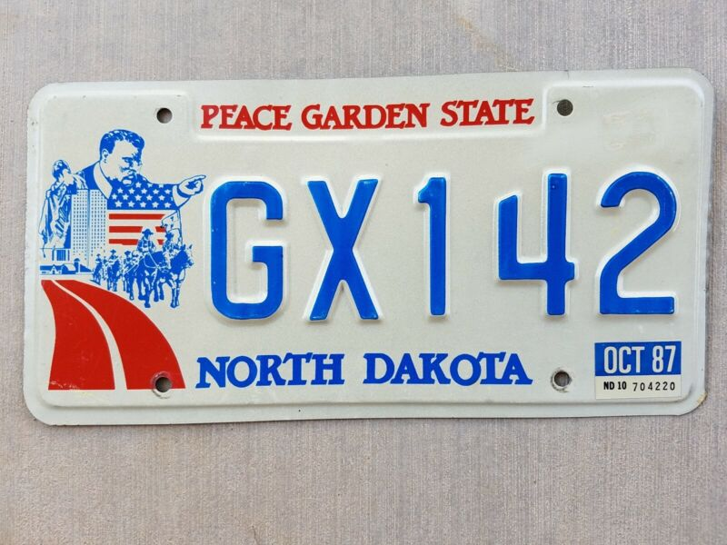 1987 North Dakota Auto Car Vehicle License Plate GX142