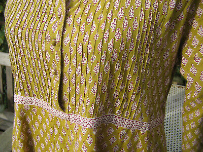 Vintage RARE Anokhi Indian block print 70s 80s dress chartreuse burgundy size S