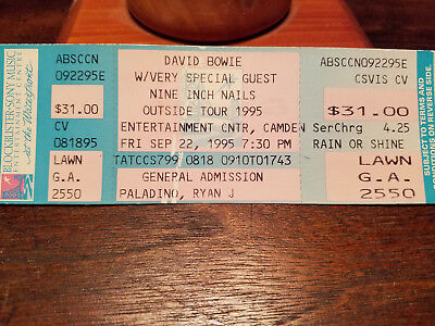 David Bowie and Nine Inch Nails ticket Outside Tour 1995