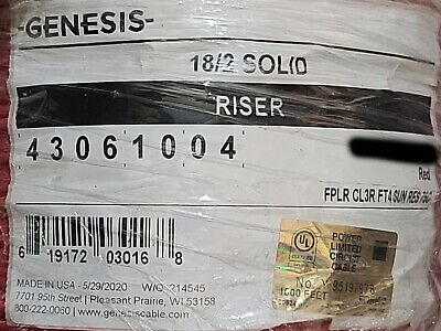 Honeywell Genesis Cable 4306 182c Solid Fplr Riser Fire Alarm Wire Red 100ft