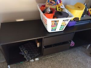 Ikea tv stand / entertainment centre with glass shelves