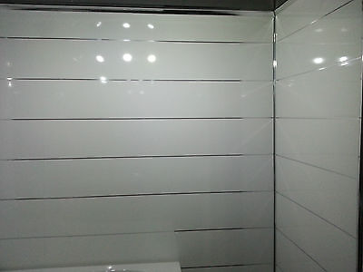 4 White metallic ceiling cladding bathroom wall panels gloss finish pvc cladding