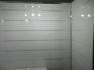 4 White metallic ceiling cladding bathroom wall panels gloss finish pvc cladding