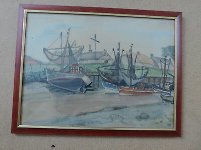 """Aquarell """" Fischerboote bei Ebbe im Nordseehafen  """"  43,5 x 33,5 cm"""