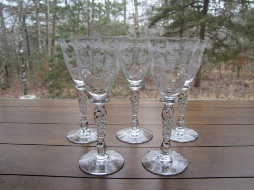(  5 ) Franciscan-Tiffin Glass / Etched BYZANTINE WINE / SHERRY / PORT  Glasses