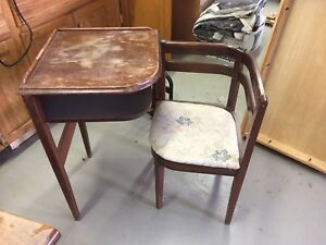 Old phone table and chair