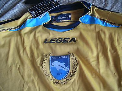 Team Pescara Calcio Mens Official Soccer Jersey Legea Size XL Yellow LS 2010 image