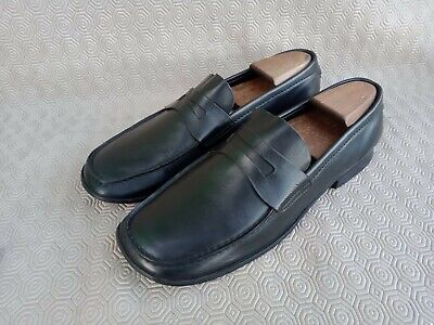 Vintage PRADA Black Calfskin Leather Penny Loafer Men Size 8½ Made In Italy