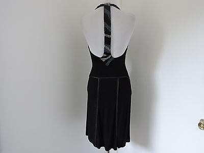 GUESS BLACK VISCOSE BEADED BACK STRAP HALTER DRESS SZ XS