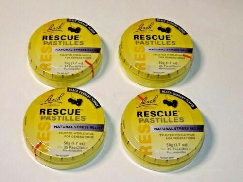 4 Pk Bach Rescue Pastilles Natural Stress Relief Black Currant Flavor 35 Ct each