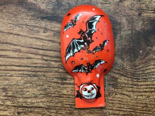 Vintage US Metal Toy Mfg Co HALLOWEEN Tin Litho Clicker BATS Jack-O-Lantern
