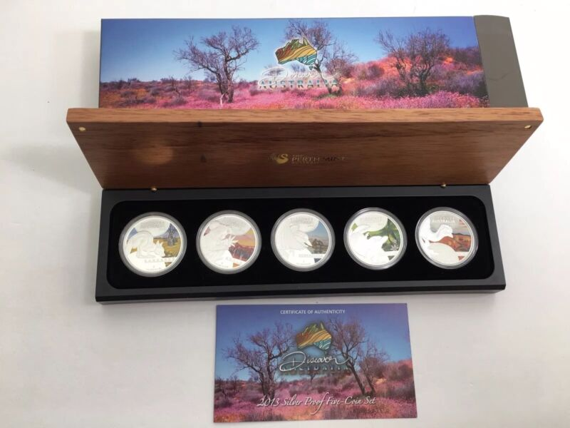 2013 Discover Australian Wildlife Complete 5 Coin $1 Pure Silver Coin Proof Set