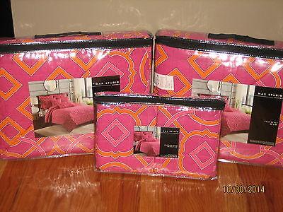 MAX STUDIO Home Girl's Pink/Orange Geometric SET OF TWO TWIN