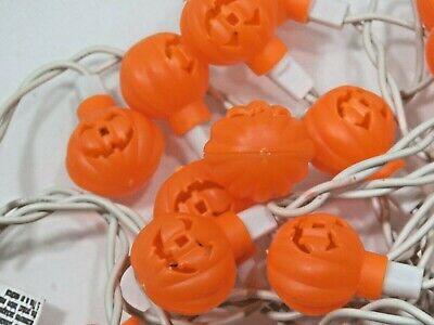 20ct Vintage Mini Blow Mold Pumpkin String Lights Halloween A3351