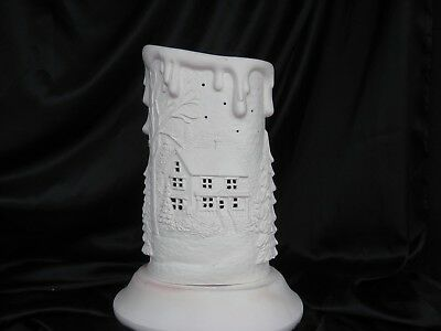 04 Ceramic Bisque Lt Christmas Candle w Base Home Scene 1 Side  Deer Scene Bacl