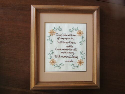 Completed finished cross stitch on memories, flowers, 2 mats, frame, well made