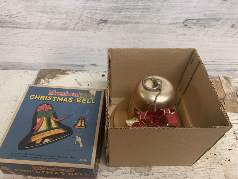 Vintage Musical Christmas Holiday Bell Gold Color Original Box #23816