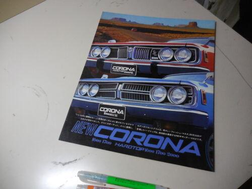 Toyota CORONA Japanese Brochure 1972/08 RT81 RT84 RT91 RT94 RT95 12R 6R 18R