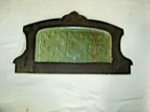 Antique Salvage Shaped Mahogany Beveled Mirror Applied Carving ~ 1424
