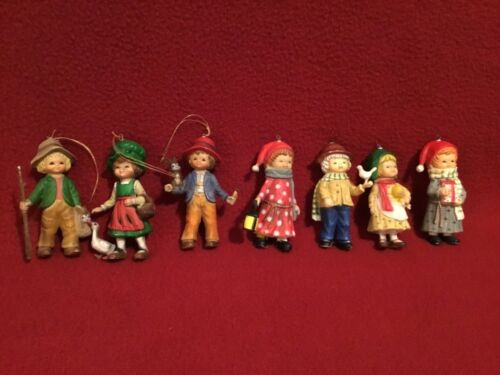 "Vintage Christmas Ornaments (7) ""Children"" Hard Plastic made in Hong Kong"