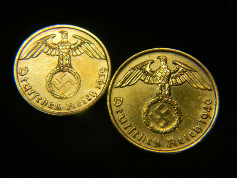 Two (2)  24K Gold Plated  WWII German Coin Lot, 1937-1940