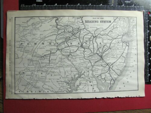 1906 READING RAILROAD SYSTEM MAP PENNSYLVANIA NEW JERSEY RR HISTORY