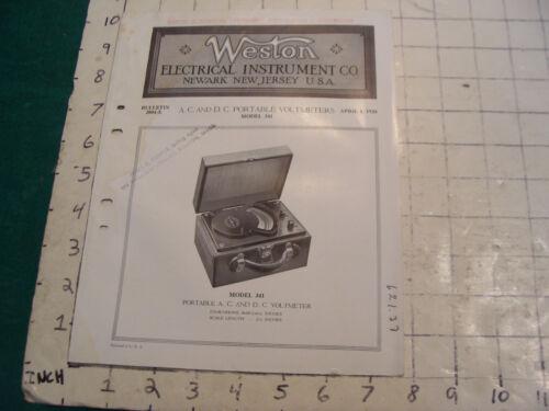 orig. 1924 WESTON Electric inst. co bulletin: AC & DC portable voltmeters