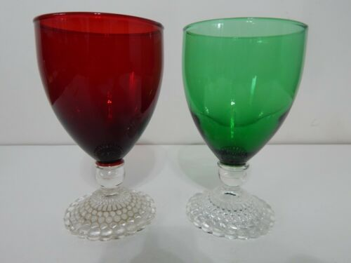 """Vintage Lot of 2 Ruby Red & Forest Green Bubble Foot 5 1/2"""" Water Goblets"""