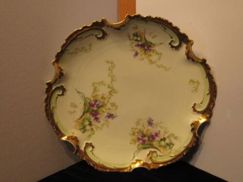 Vintage Limoges France Coronet Purple Violets & Lily Gold Trimmed Cabinet Plate